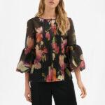 Блуза из принтованной органзы