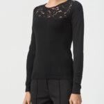 Пуловер из шерсти с кружевными вставками