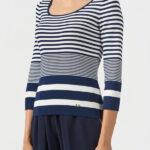 Пуловер в полоску с рукавом три четверти